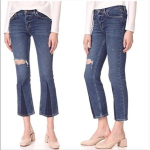 Free people color block flared jeans